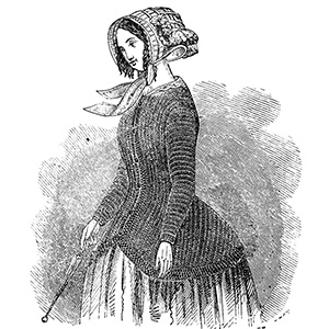Engraving of woman in crocheted polka jacket circa 1850. Original engraving from Treasures in Needlework published in England in 1855.